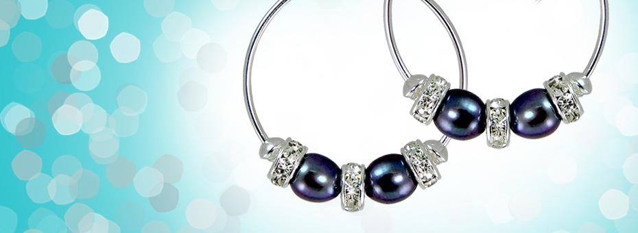 Black Freshwater Pearl Hoop Earrings with Swarovski Crystal