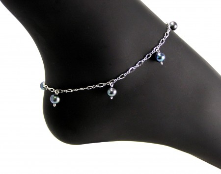 Black Freshwater Pearl Anklet