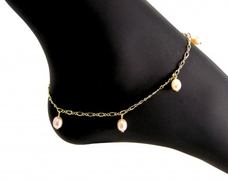 Peach Freshwater Pearl Anklet