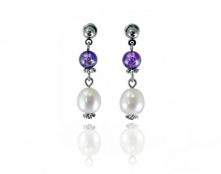 White Freshwater Pearl Earrings with Amethyst Beads