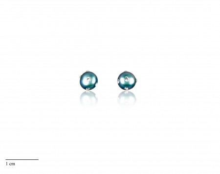 Blue Freshwater Pearl Stud Earrings