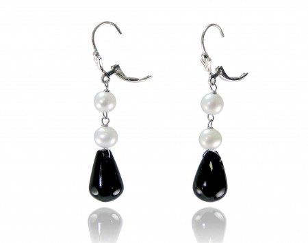 White Freshwater Pearl Earrings with Black Onyx