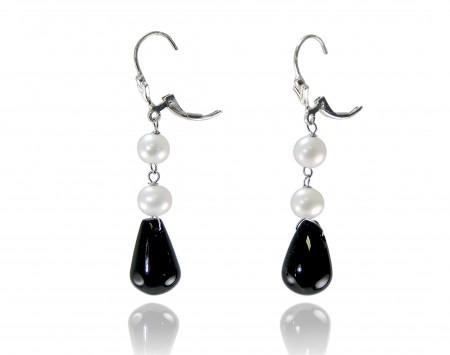 White Freshwater Pearl Earrings with Black Onyx