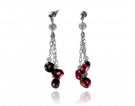 Cranberry Freshwater Pearl Earrings