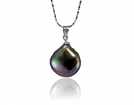 Peacock Freshwater Coin Pearl Pendant