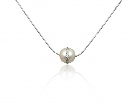 White Freshwater Saturn Pearl Pendant With Crystals
