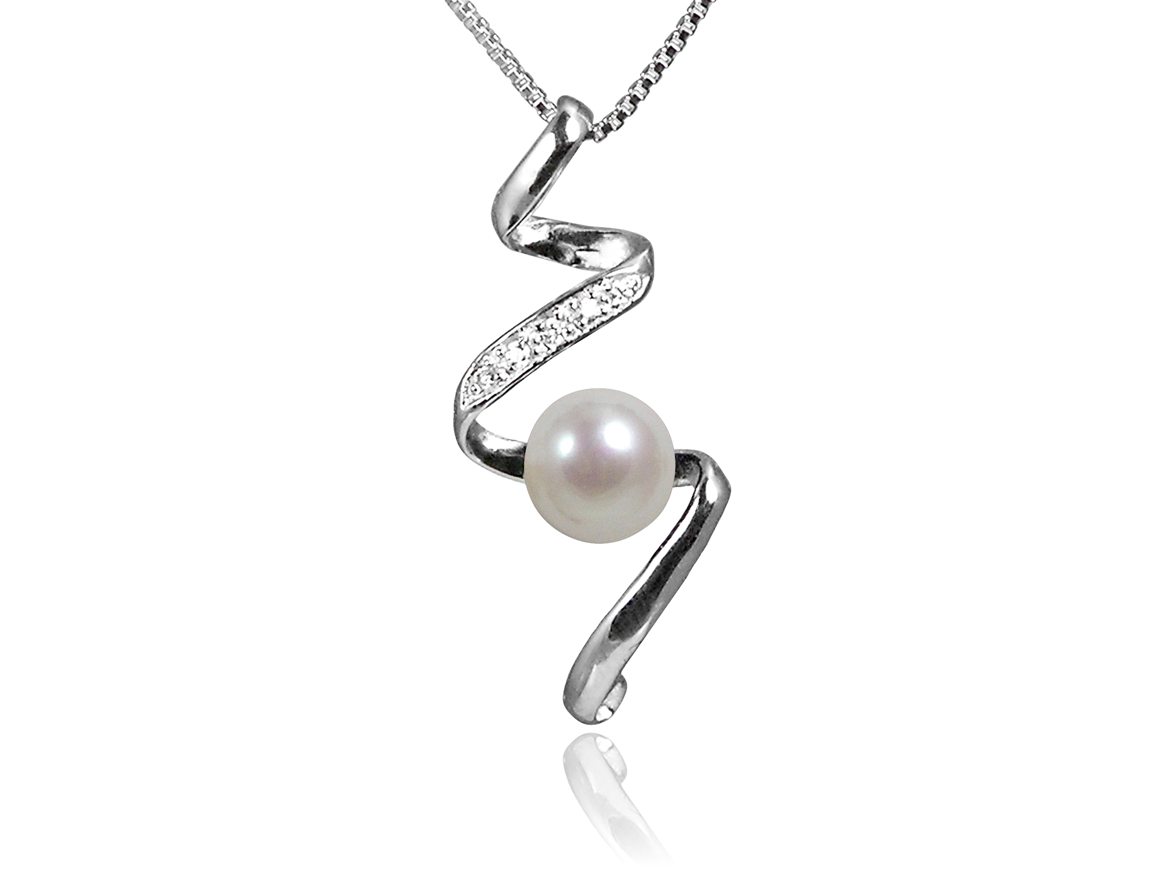 White Freshwater Pearl Pendant with Swarovski Crystal