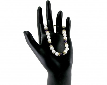 White Freshwater Pearl and Amethyst Bracelet