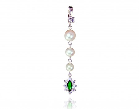 White Freshwater Pearl Enhancer with Tourmaline