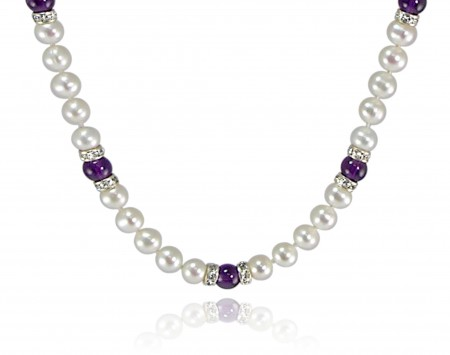 White Freshwater Pearl Necklace with Amethyst