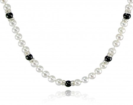 White Freshwater Pearl Necklace with Black Onyx