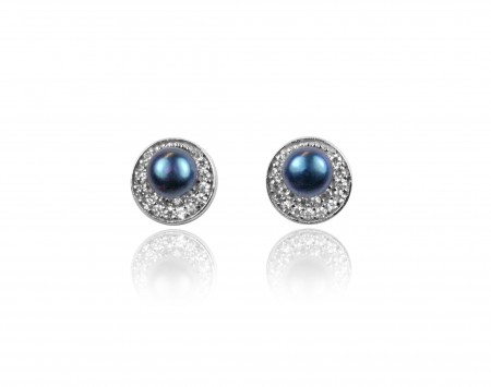 Midnight Blue Freshwater Pearl Earrings with Crystals