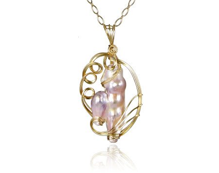 Baroque Pearl Pendant with Wire Wrap