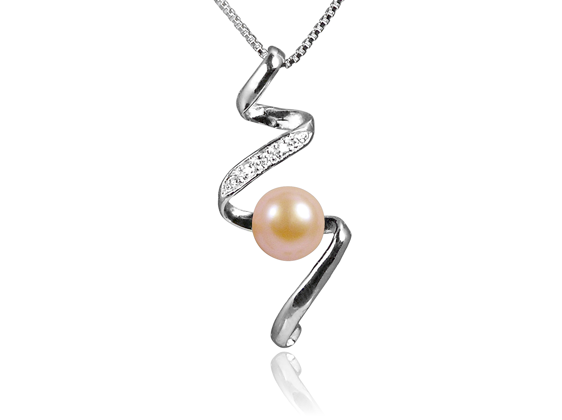 Peach Freshwater Pearl Pendant with Swarovski Crystal