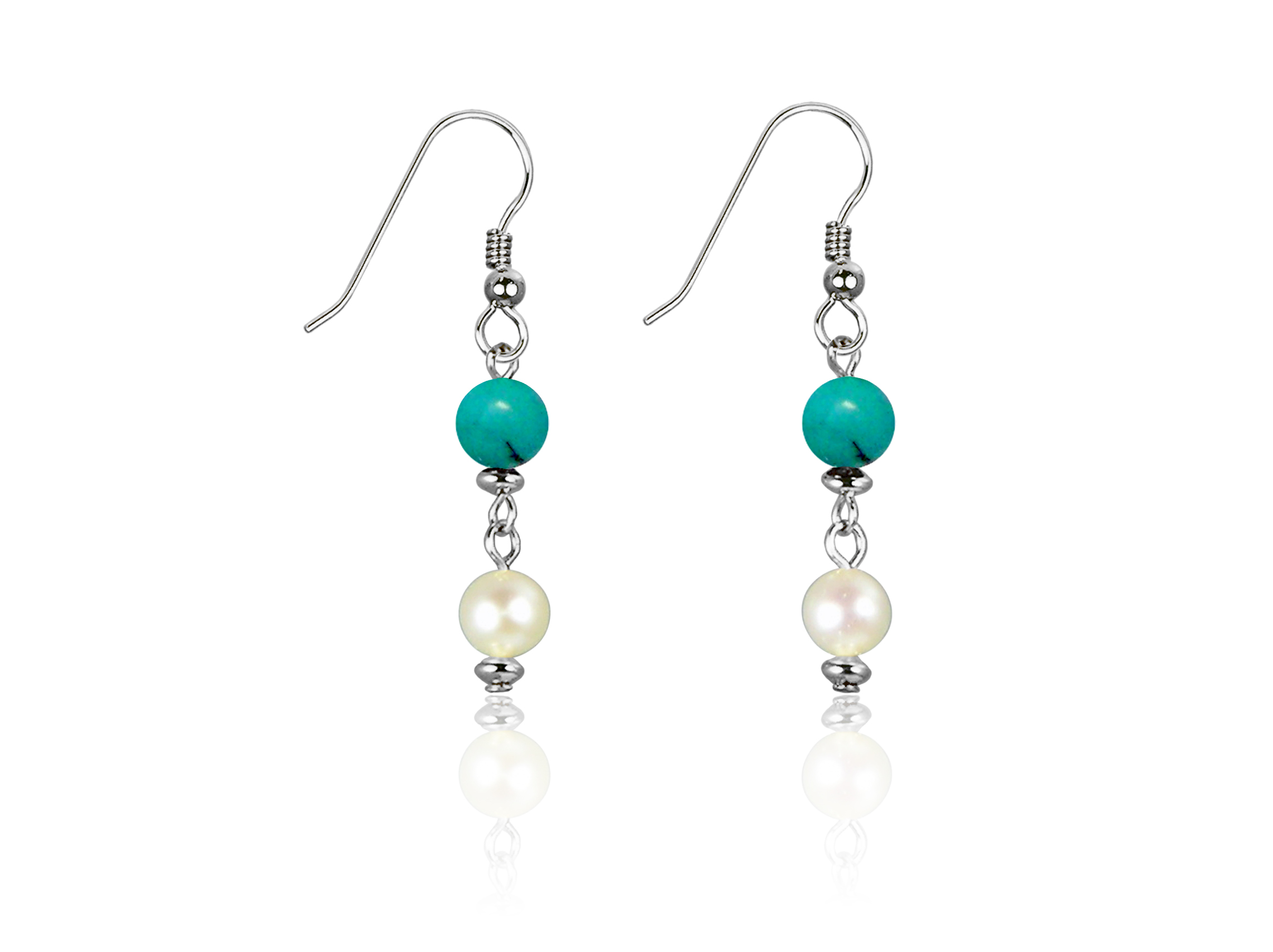 Freshwater Pearl and Green Turquoise Earrings