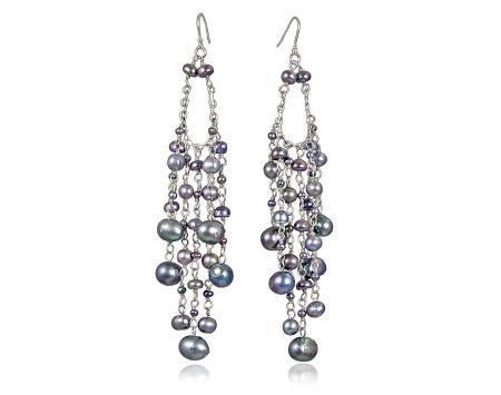 Black Pearl Waterfall Earrings
